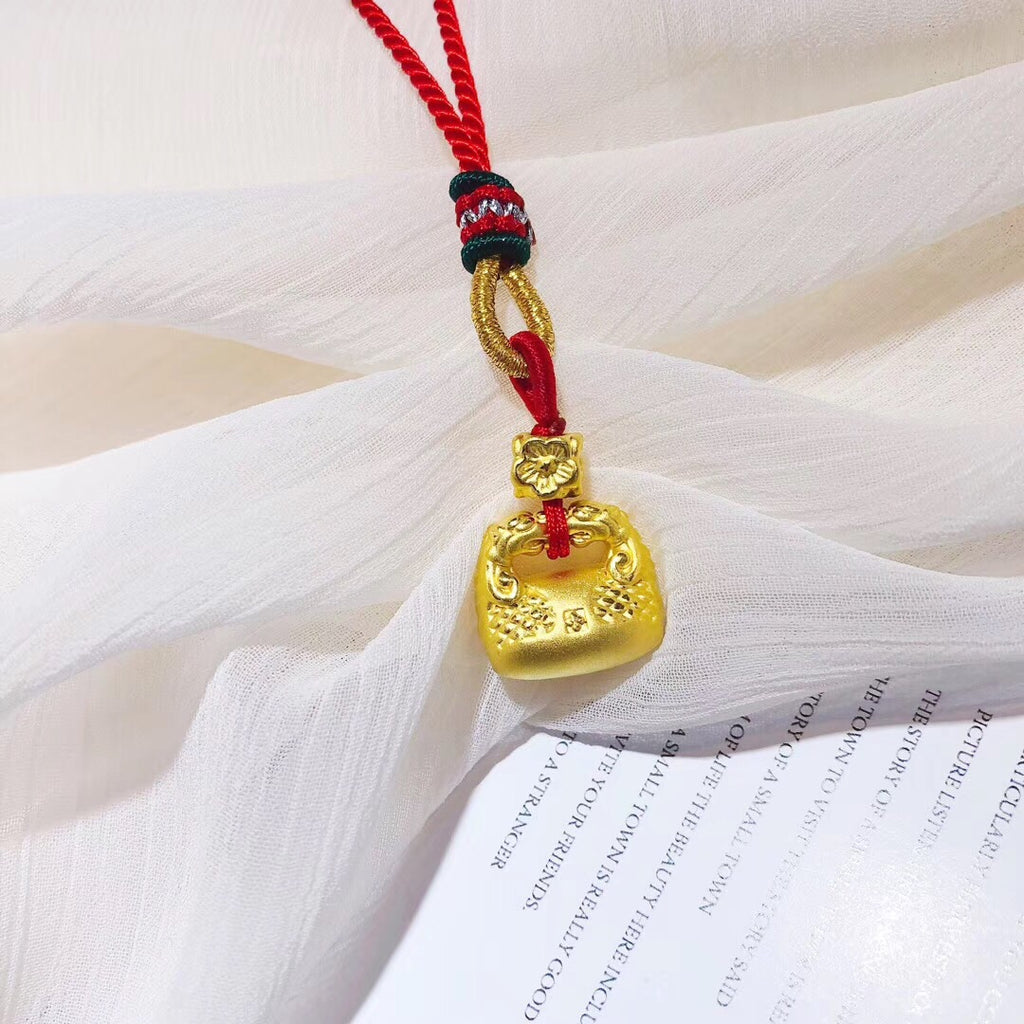 Solid gold lock pendant necklace