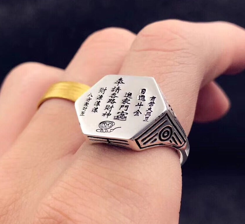 925 sterling silver fortune god ring - Xingjewelry