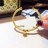 18 k gold open bangle bracelet - Xingjewelry