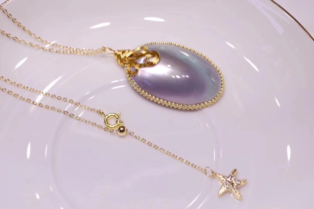Gold plate silver mabe pearl pendant necklace