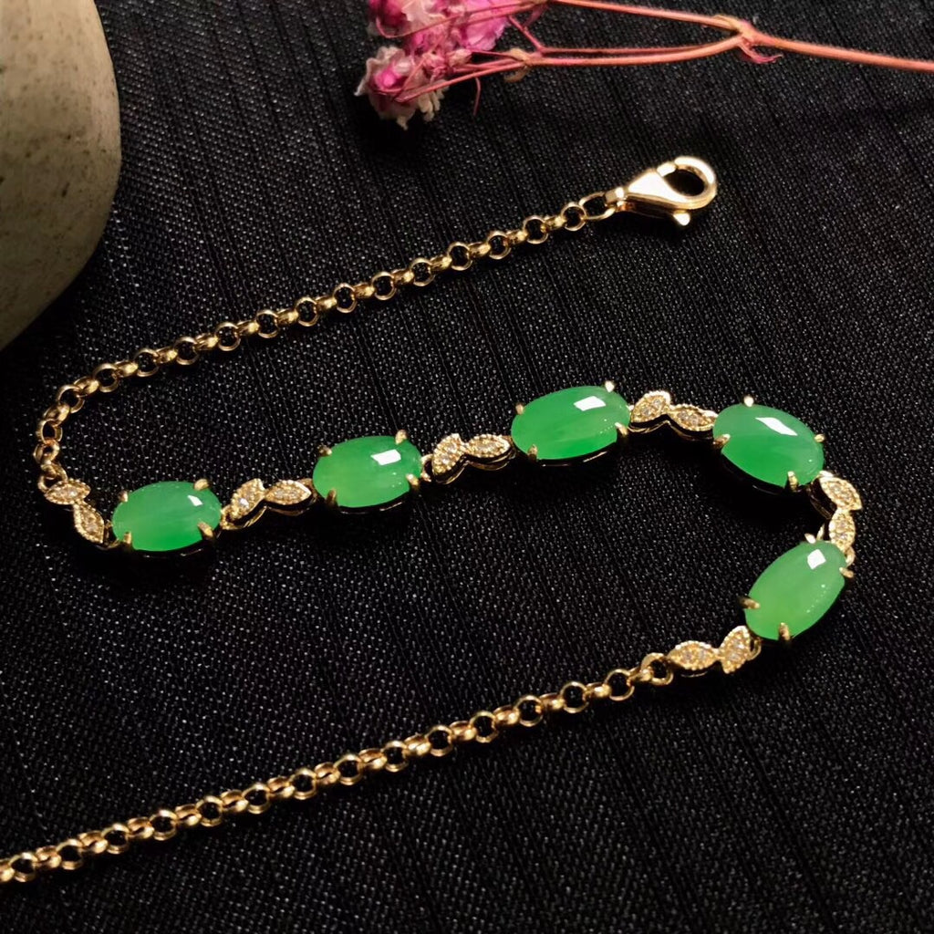 18 k gold green jade perfect ice tone bracelet - Xingjewelry