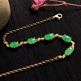18 k gold green jade perfect ice tone bracelet
