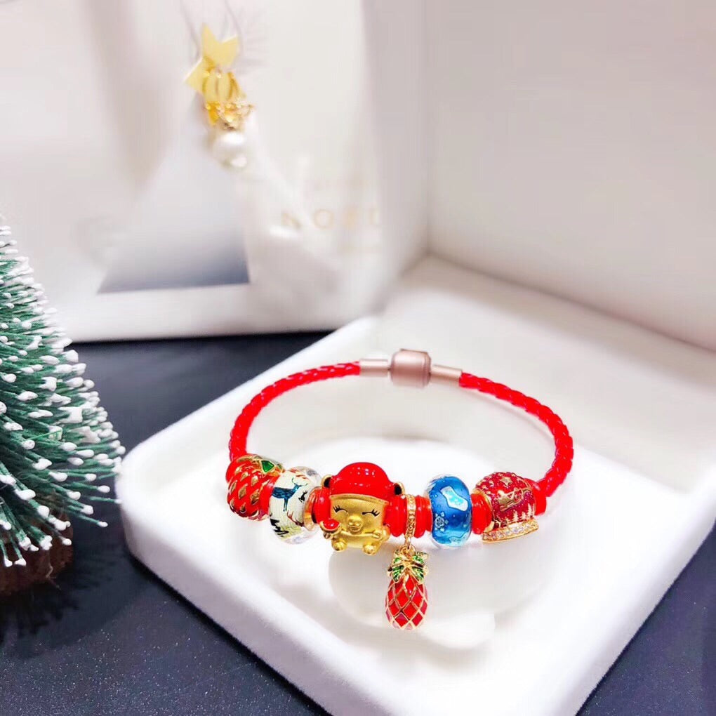 Red Christmas leather charm bracelet