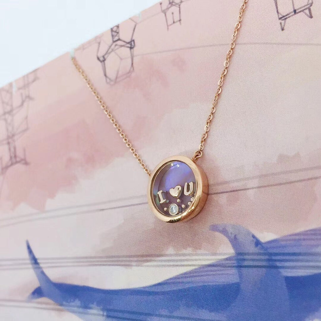 18k gold love you locket pendant necklace - Xingjewelry