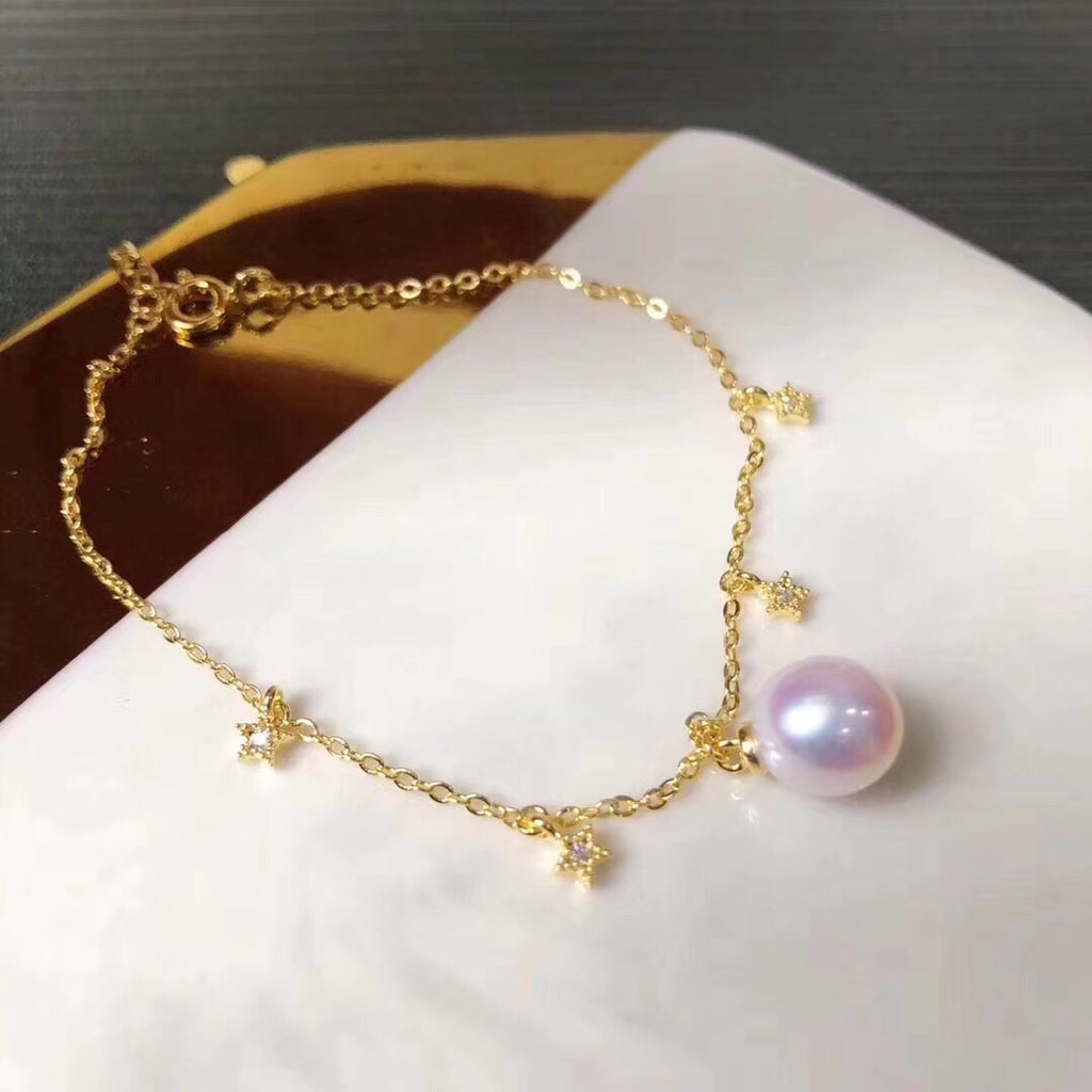 18k gold plate silver white pearl chain bracelet - Xingjewelry
