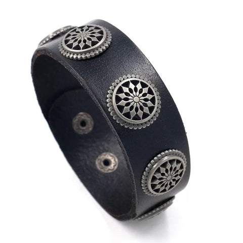 Leather black vintage flower bangle bracelet - Xingjewelry