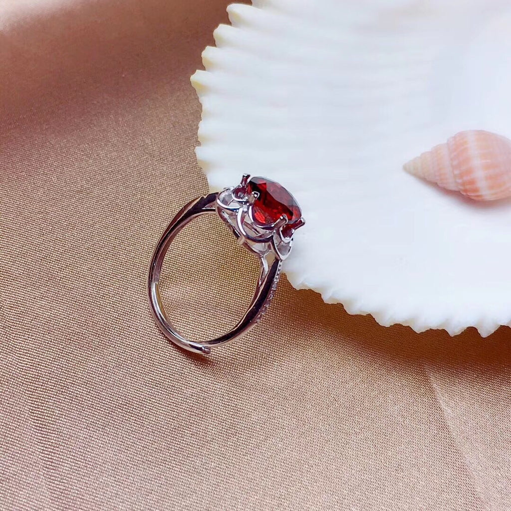 Sterling silver red garnet stone ring open ring
