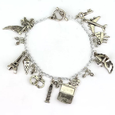 alloy metal world travel lady charm bracelet - Xingjewelry