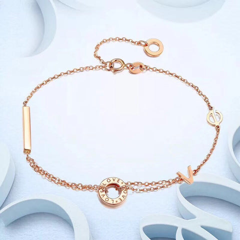 18k solid gold rose gold love bracelet - Xingjewelry