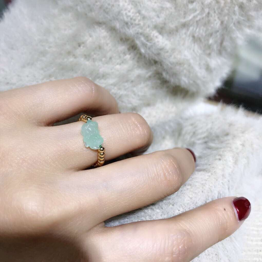 18k gold green jade elastic stretch ring fashion popular ring - Xingjewelry