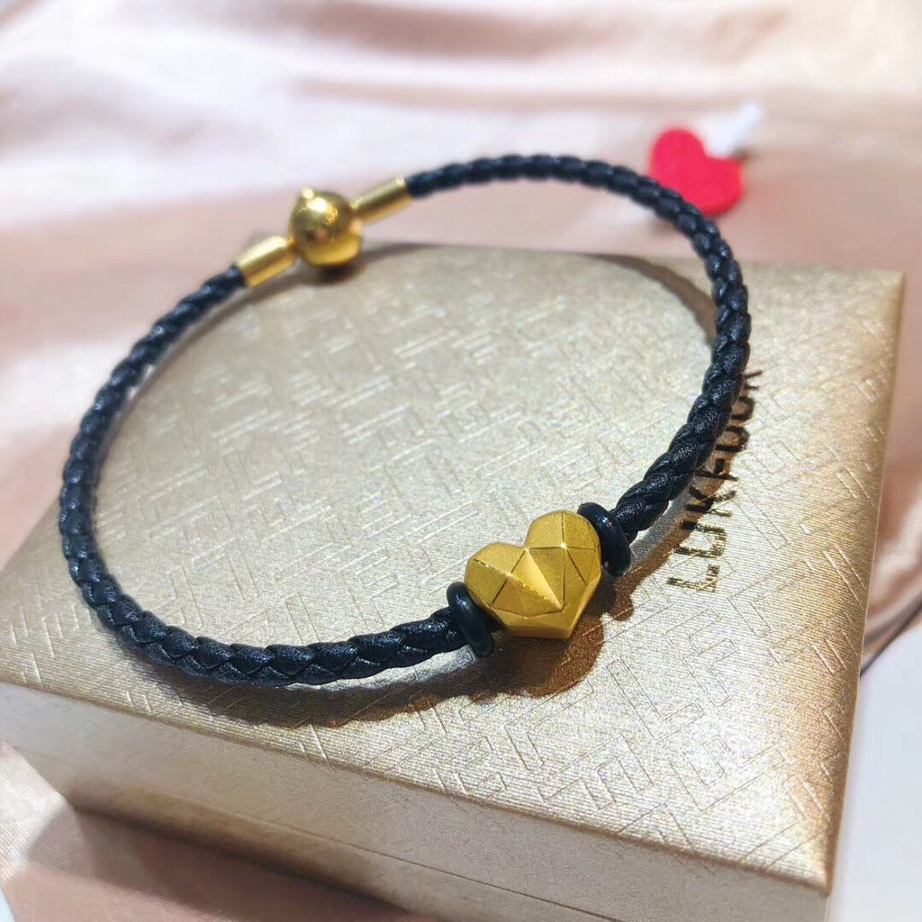 18k gold heart leather charm bracelet - Xingjewelry