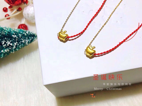 18k gold red / gold chain necklace apple pendant - Xingjewelry