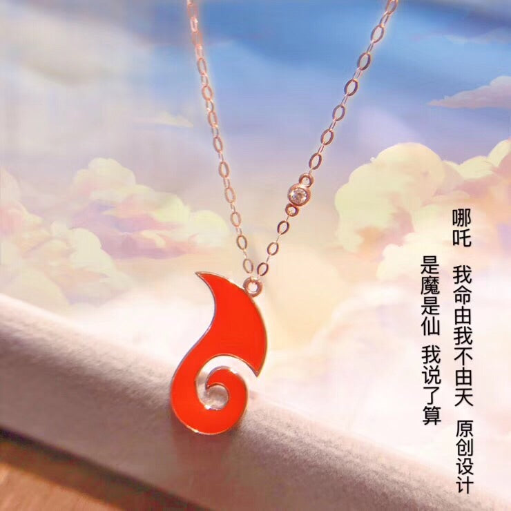 18k gold red music symbol pendant necklace - Xingjewelry