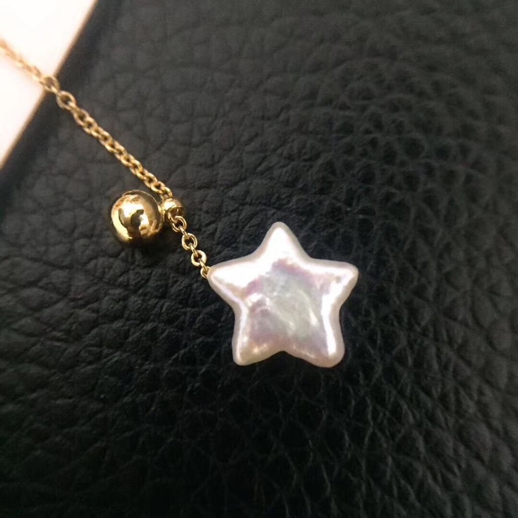 Sterling silver pearl star earring