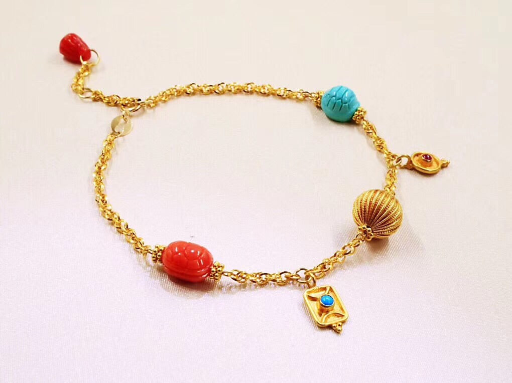 18k gold turquoise red coral adjustable bracelet - Xingjewelry