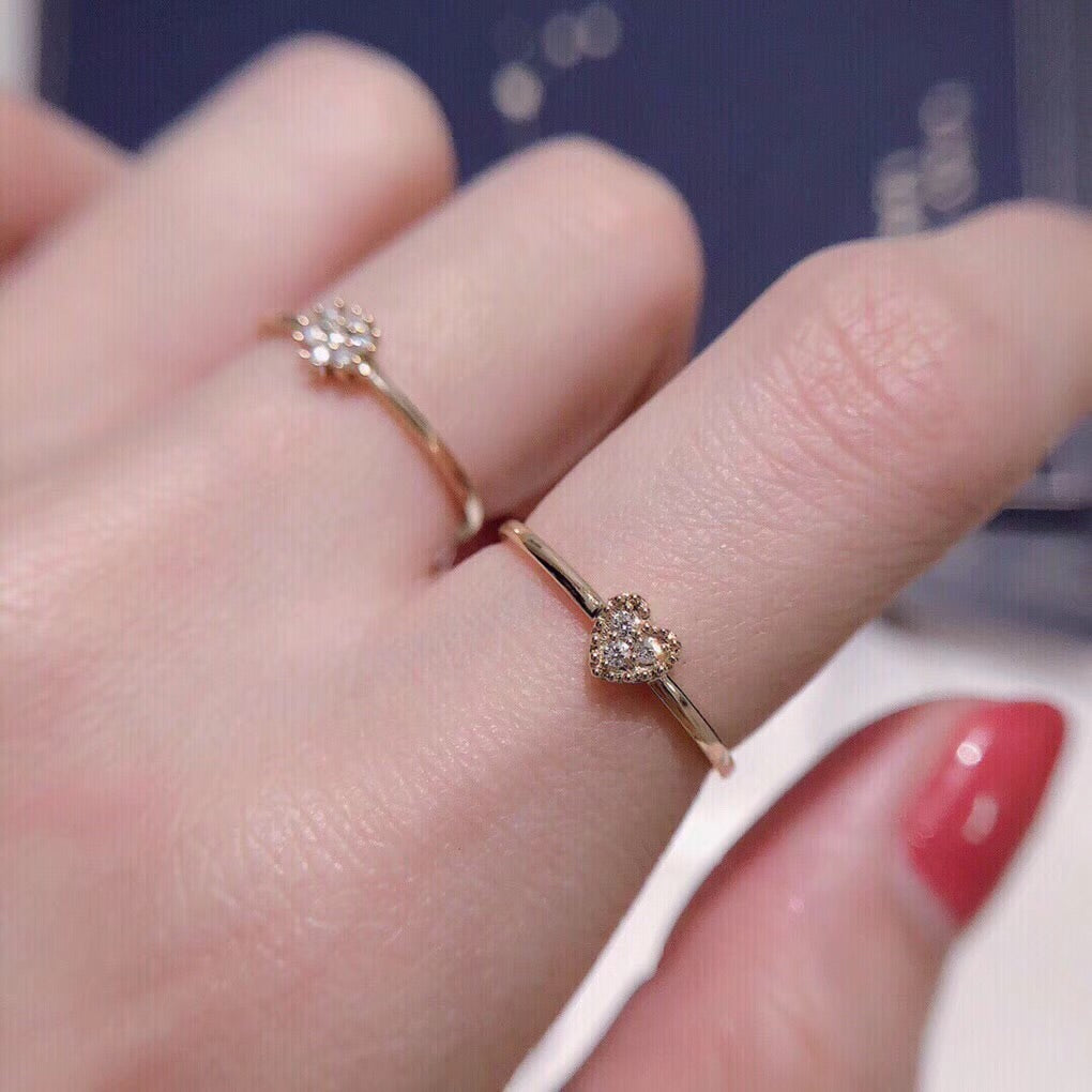 18 k gold diamond heart elegant ring - Xingjewelry