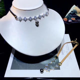 Leather belt Tahitian pearl crystal choker necklace