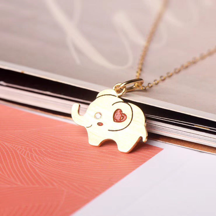 18k gold elephant pendant necklace