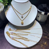 18k gold beaded bling bling pearl necklace - Xingjewelry