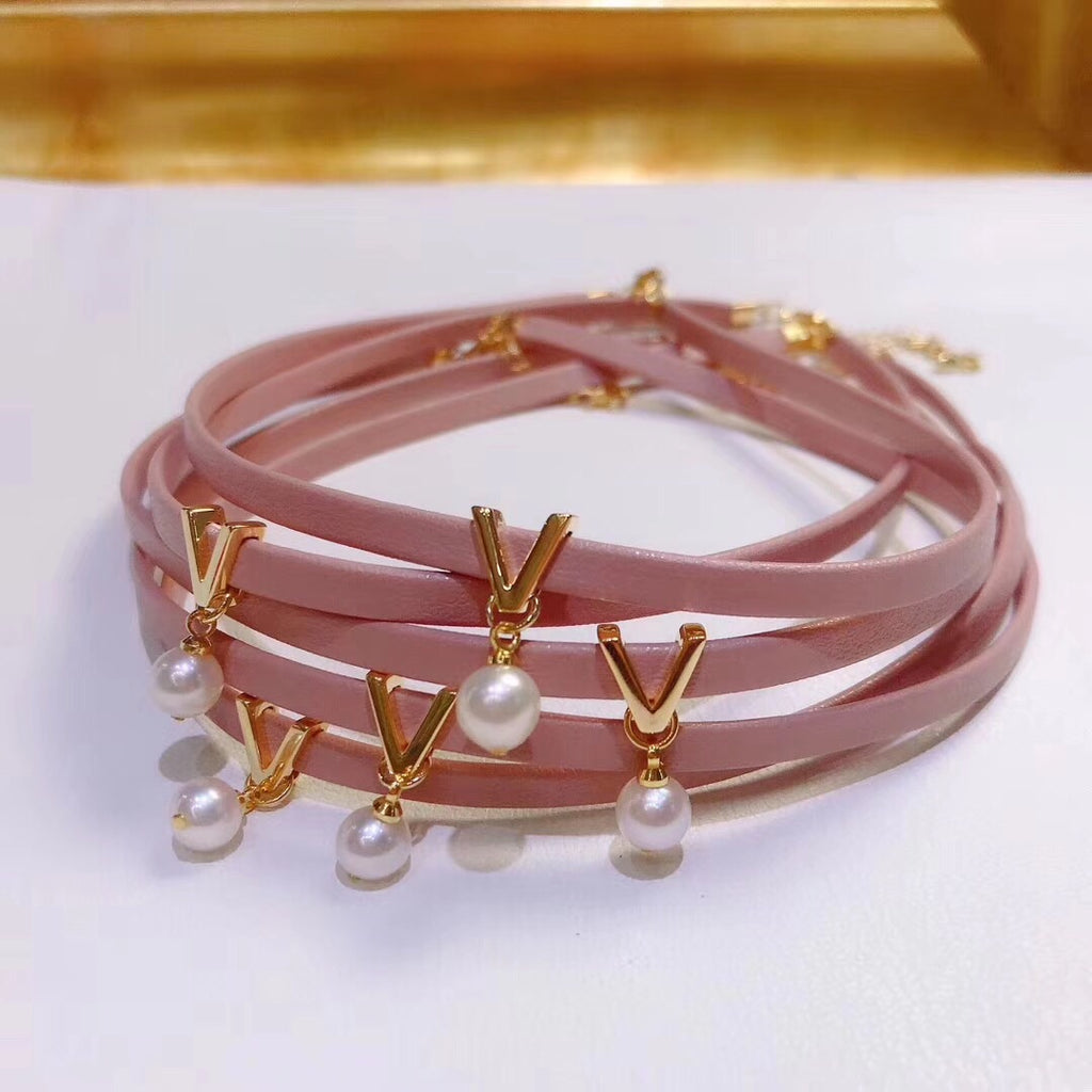 18k gold pink leather choker white pearl necklace - Xingjewelry