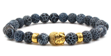 Gold buddha head agate beaded elastic bracelet