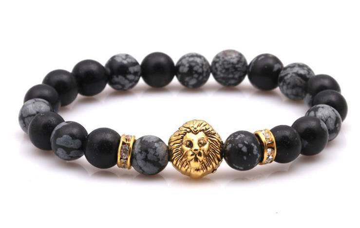 Tiger eye stone gold lion head elastic bracelet - Xingjewelry