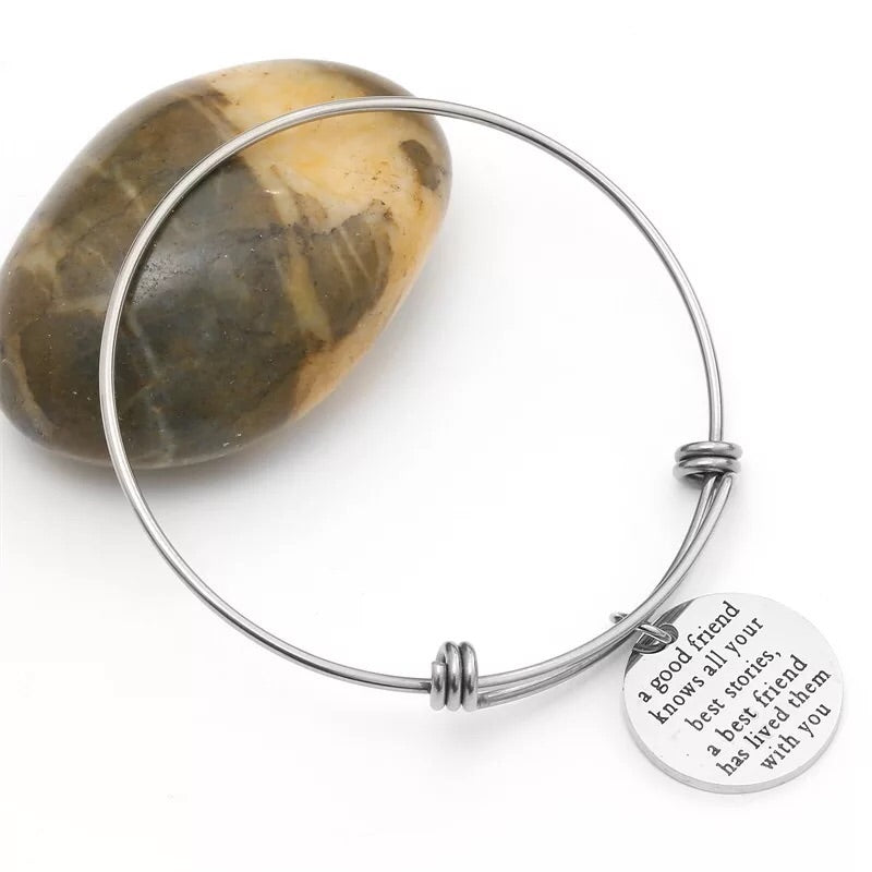 Push titanium best friend bangle bracelet