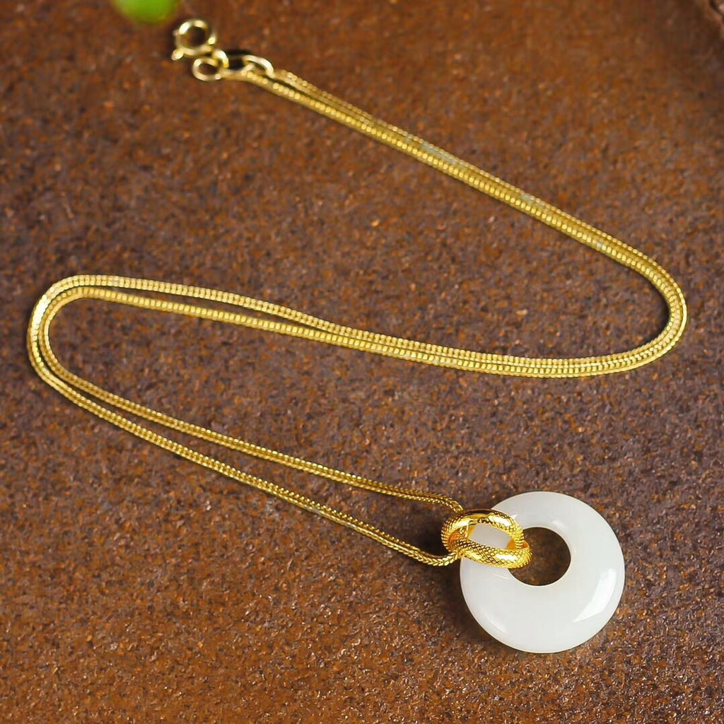 18k gold white natural jade pendant necklace - Xingjewelry