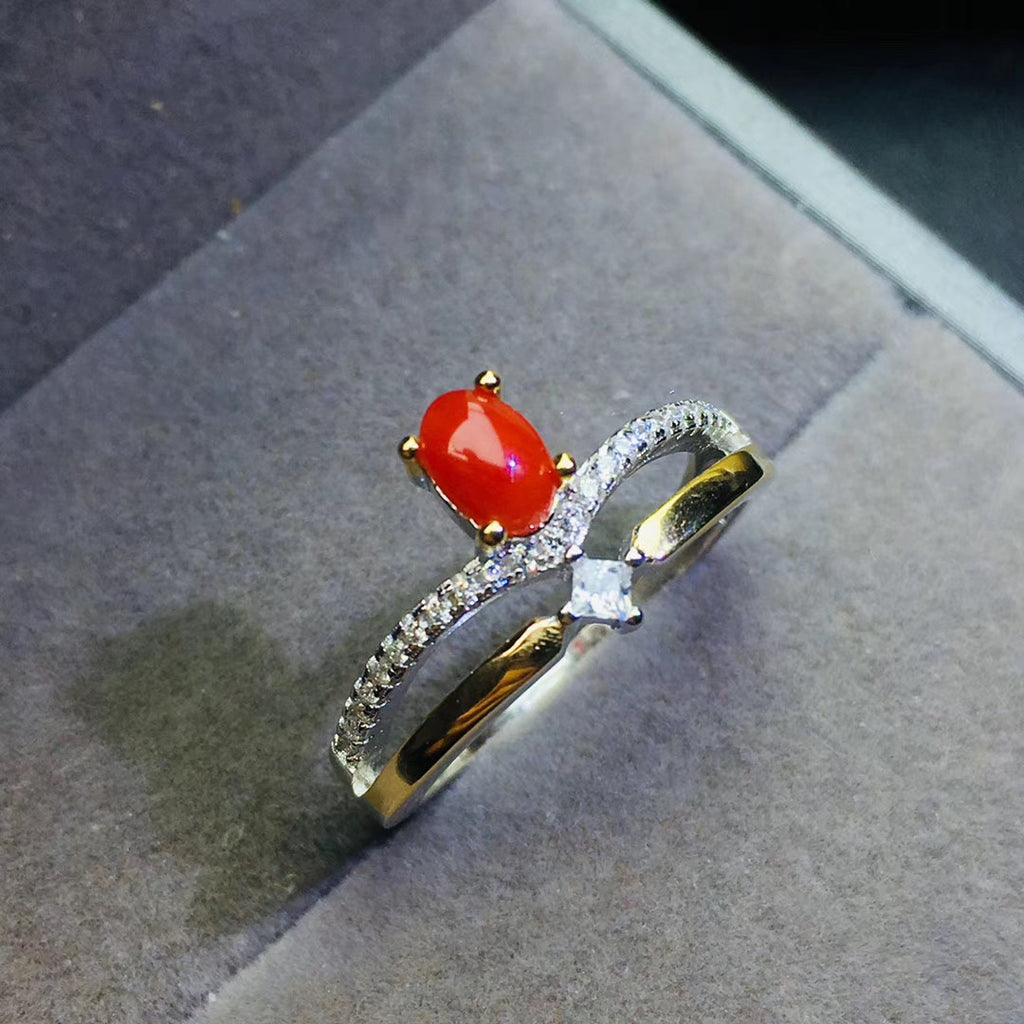 Sterling silver red ruby wedding ring