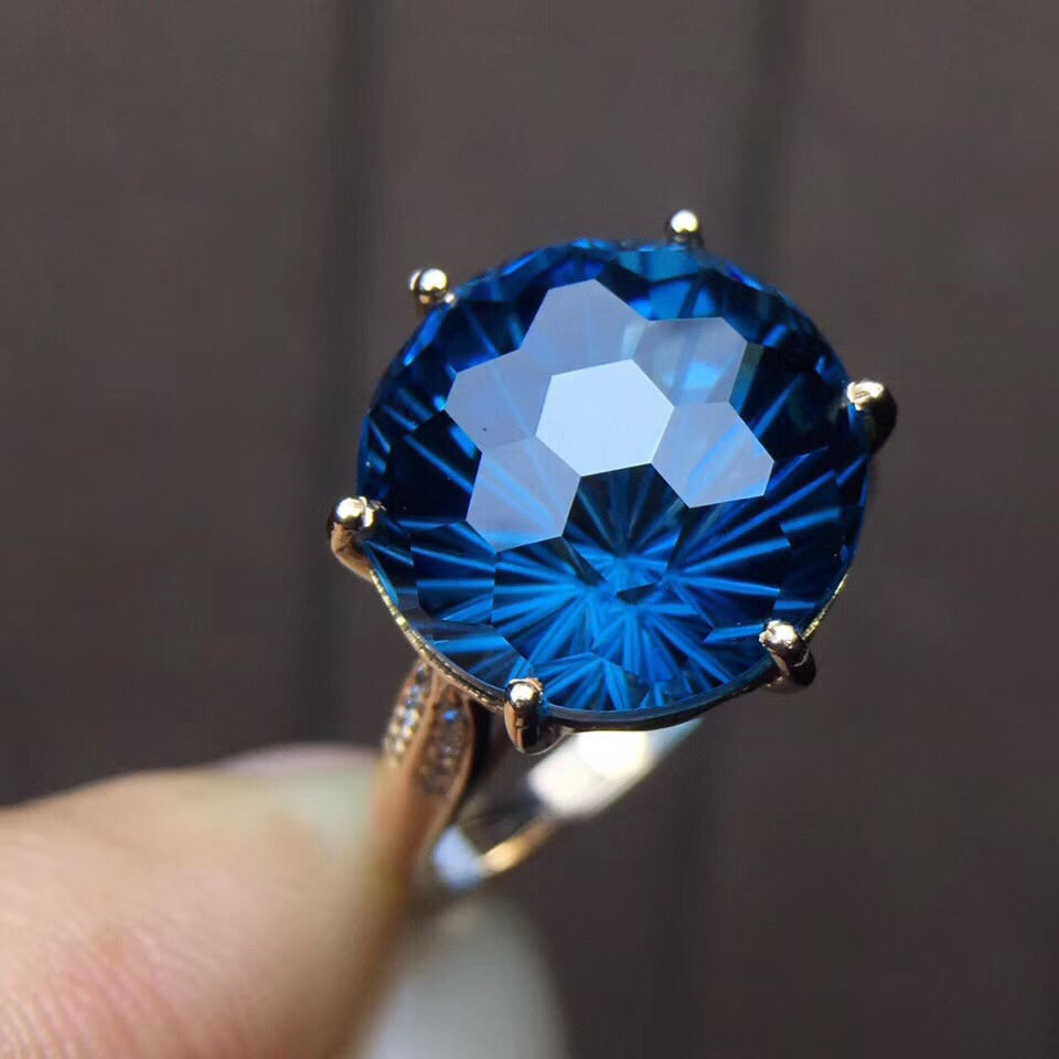 18k gold Brazil blue topaz diamond ring - Xingjewelry