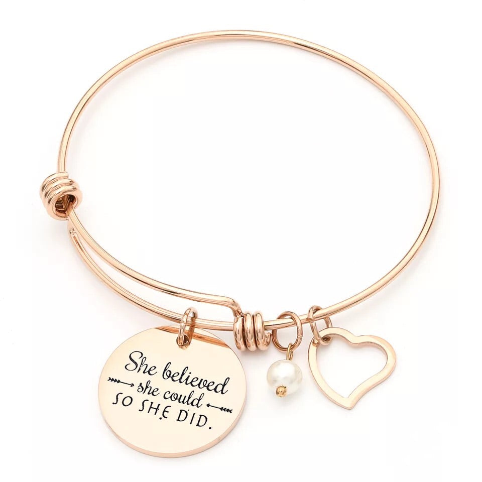 Push bangle bracelet believe pendant