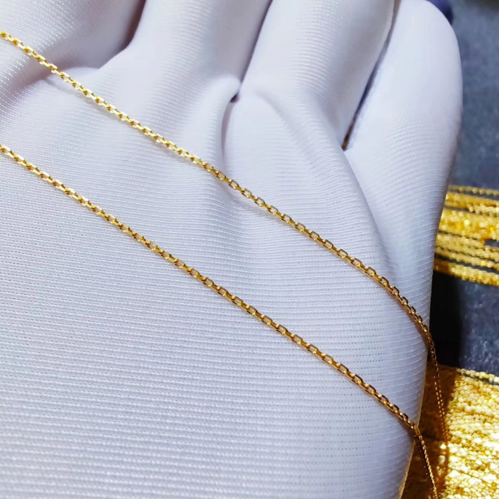 Solid gold simple W chain necklace 硬金精品卡地细链项链