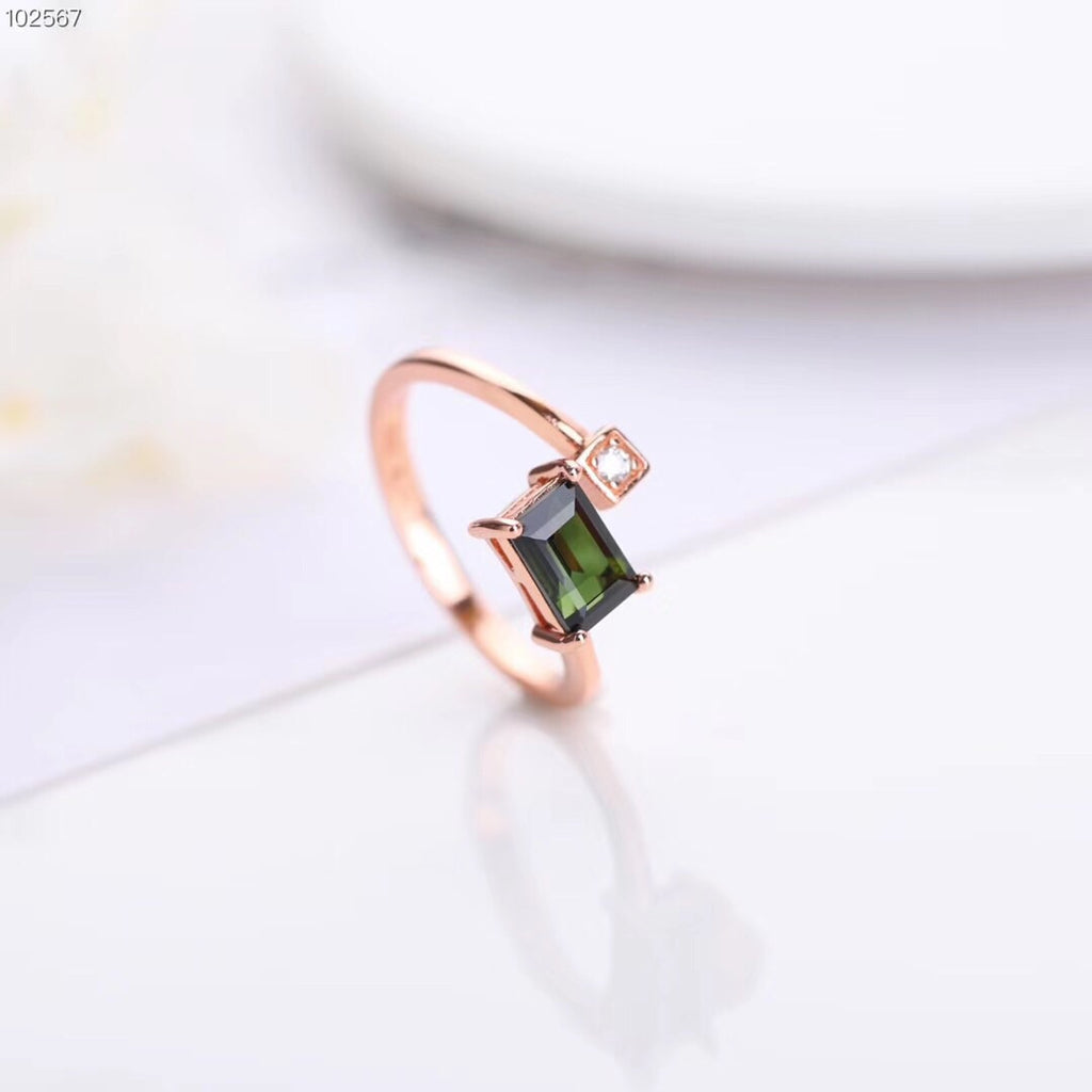 Sterling silver square green tourmaline open ring