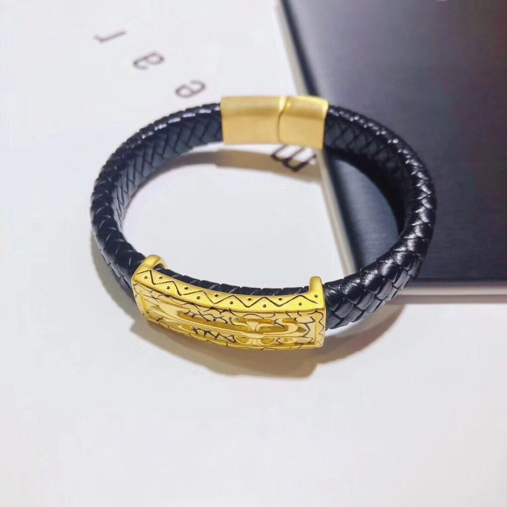 eb28afbbee22 Solid gold chrome hearts leather bracelet for men