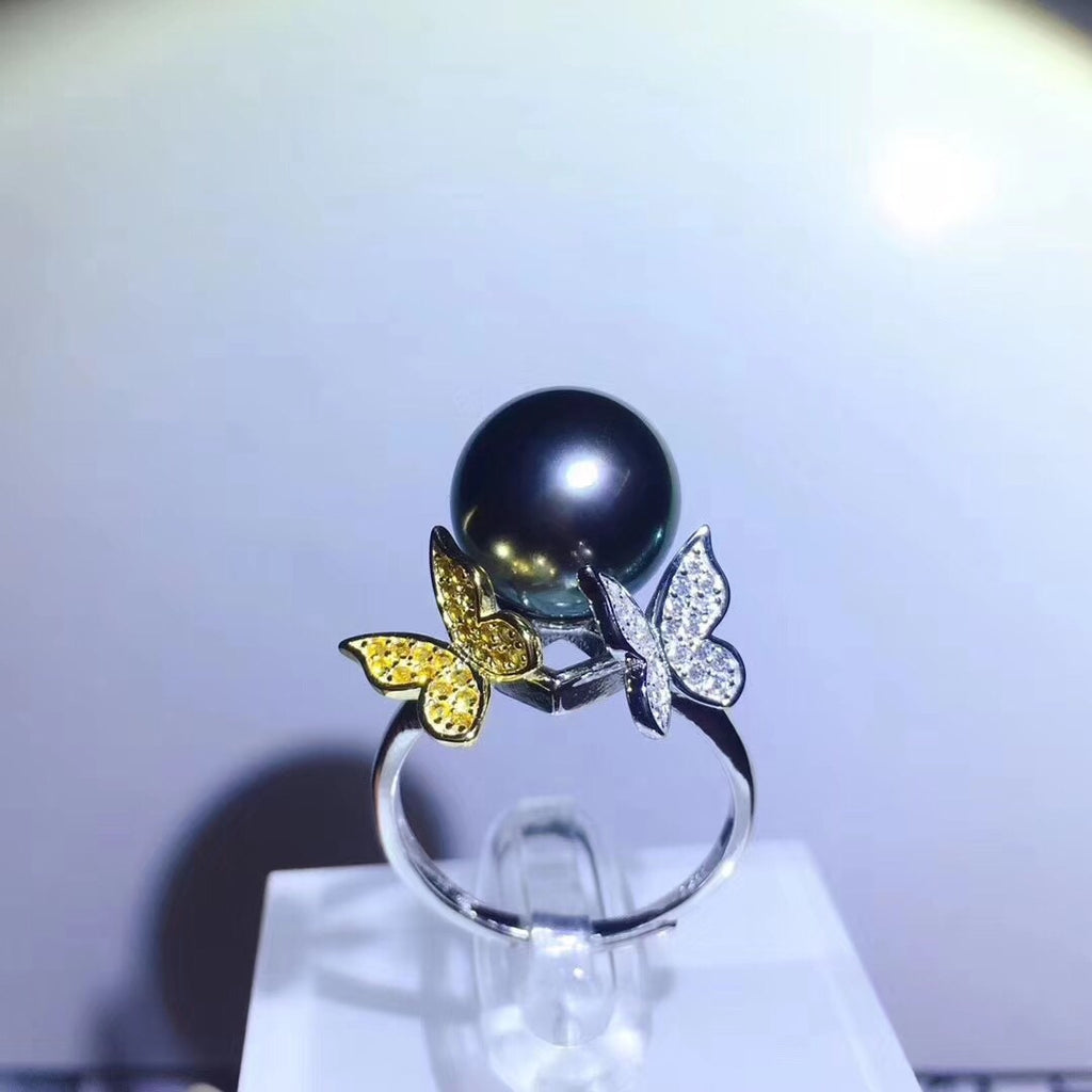 925 sterling silver Tahitian pearl ring