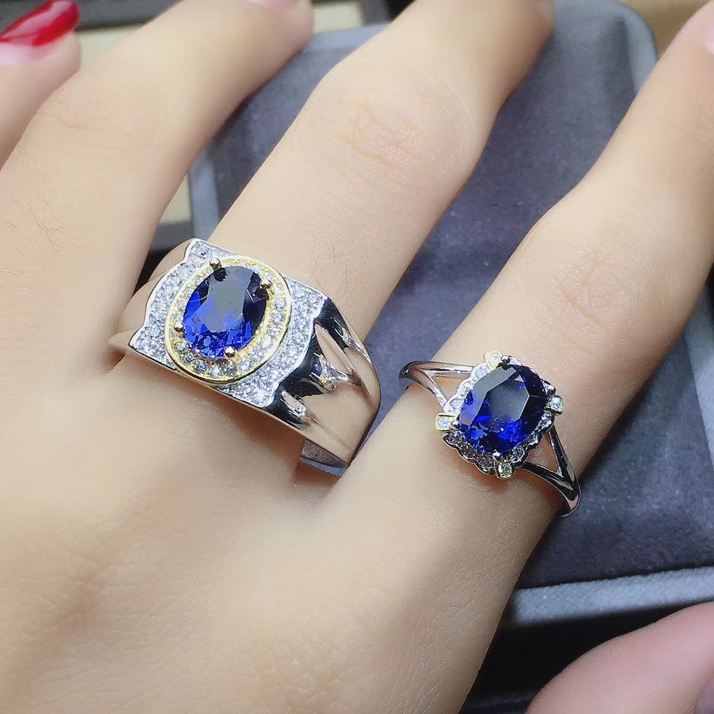 18k gold plating blue sapphire stone wedding ring