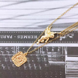 Gold plate pearl printed name tag Cupid necklace 3 pcs /1 set