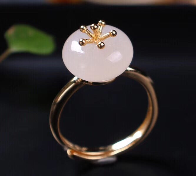Sterling silver white jade flower ring