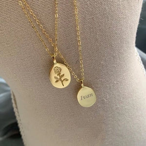 18k gold rose personalized necklace