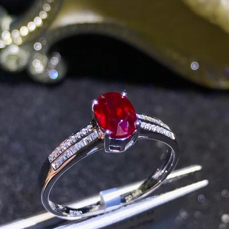 18k White Gold Diamond Ruby Ring - Xingjewelry