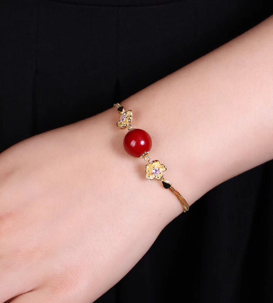 925 sterling silver daisy  red coral adjustable bracelet - Xingjewelry