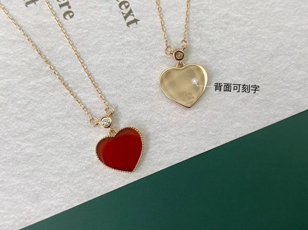18k gold red agate heart pendant necklace