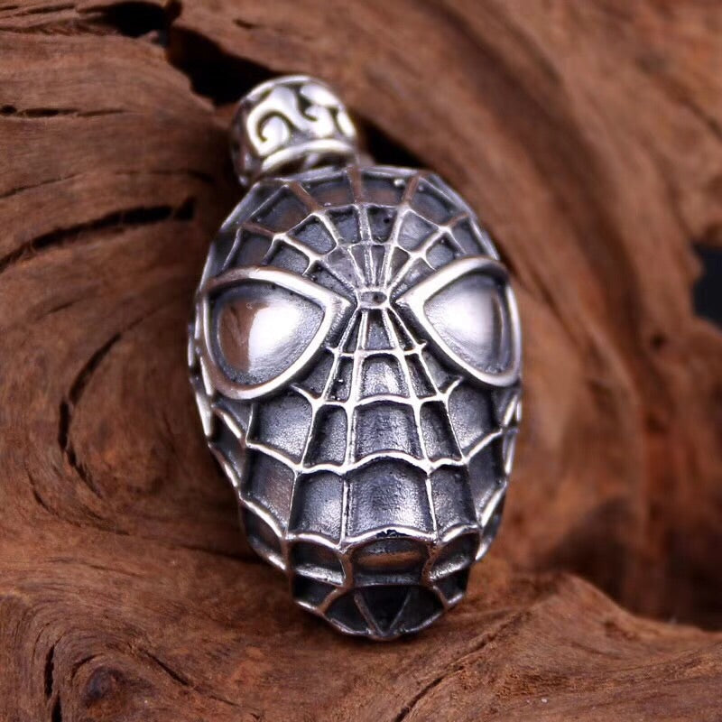 925 sterling silver spider man mask pendant - Xingjewelry