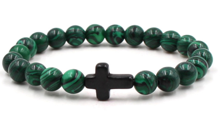 Dark green agate stone black elastic cross bracelet