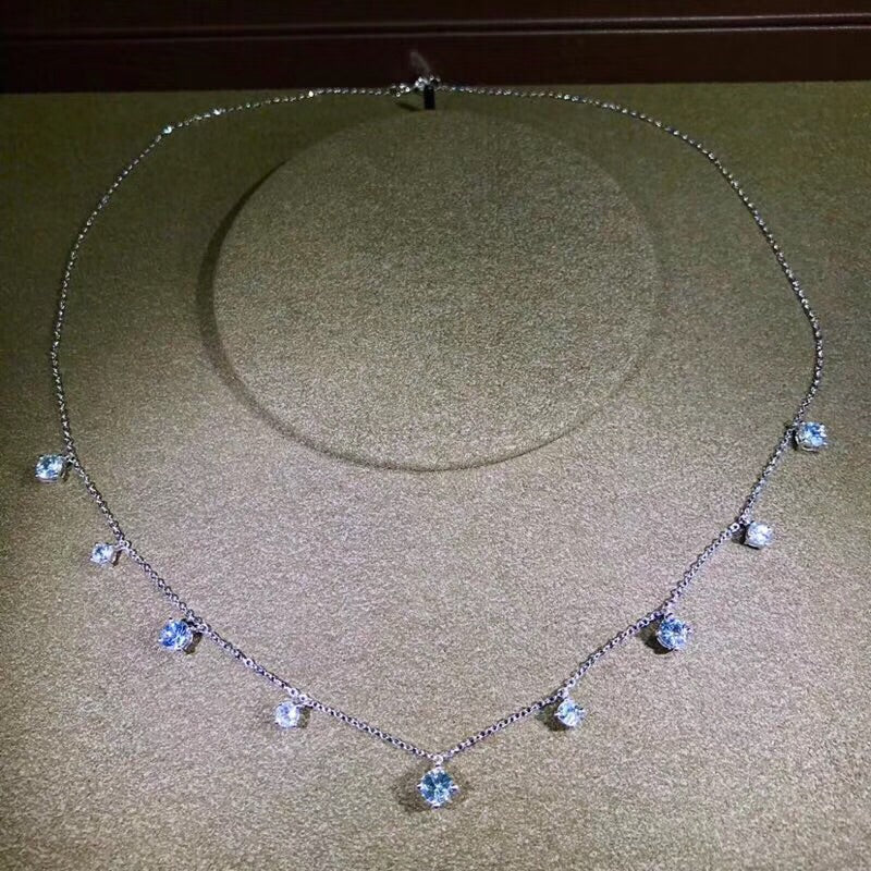 18k white gold blue sapphire stone necklace - Xingjewelry