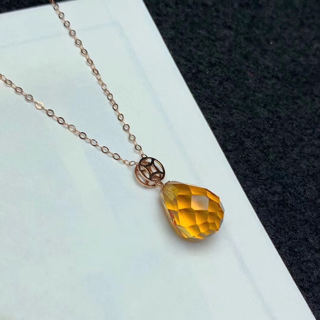 925 sterling silver yellow crystal pendant necklace