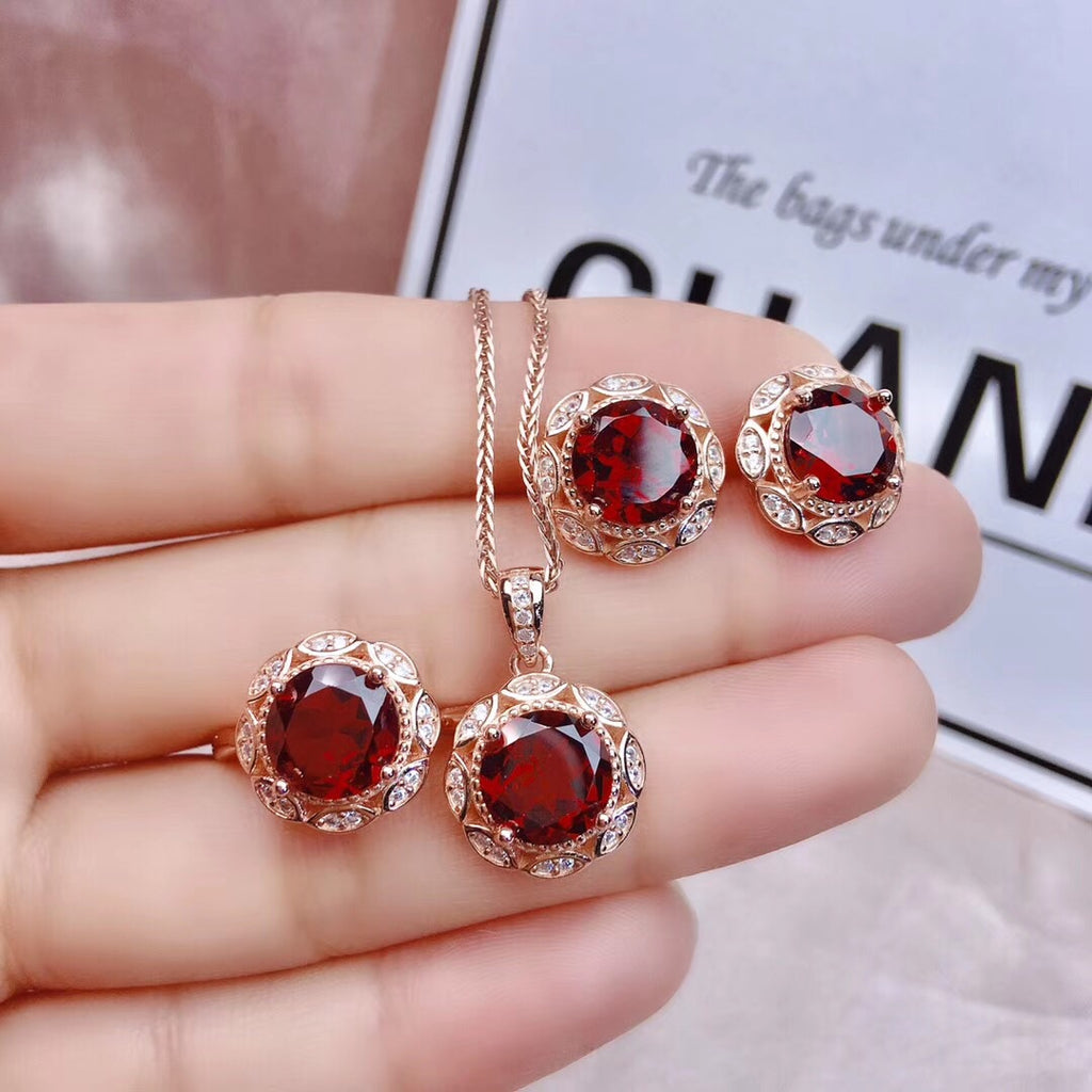 Sterling silver red garnet stone necklace ring earring set