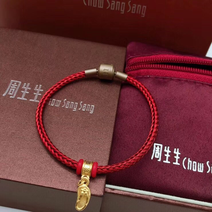 24k gold slipper red charm bracelet