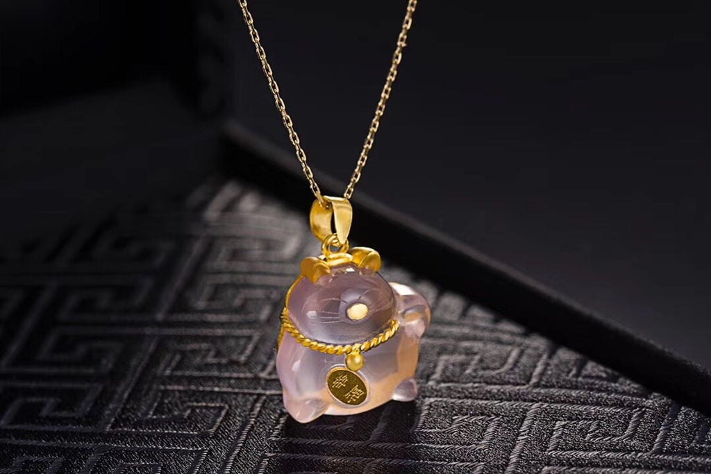 18k gold pink crystal cute happy cat pendant necklace - Xingjewelry