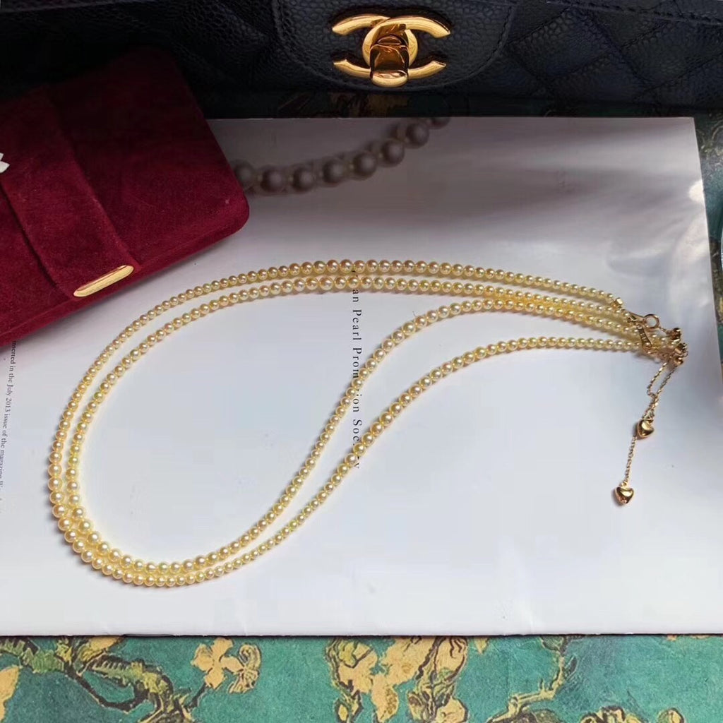 South sea golden pearl beads necklace